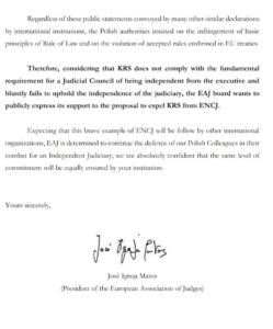 List Europejskiego Stowarzyszenia Sędziów