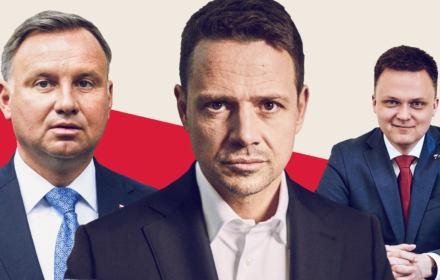 Rafał Trzaskowski, Andrzej Duda, Szymon Hołownia - faworyci sondażu Ipsos dla OKO.press