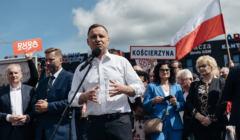 Prezydent Andrzej Duda spotkal sie z mieszkancami Koscierzyny
