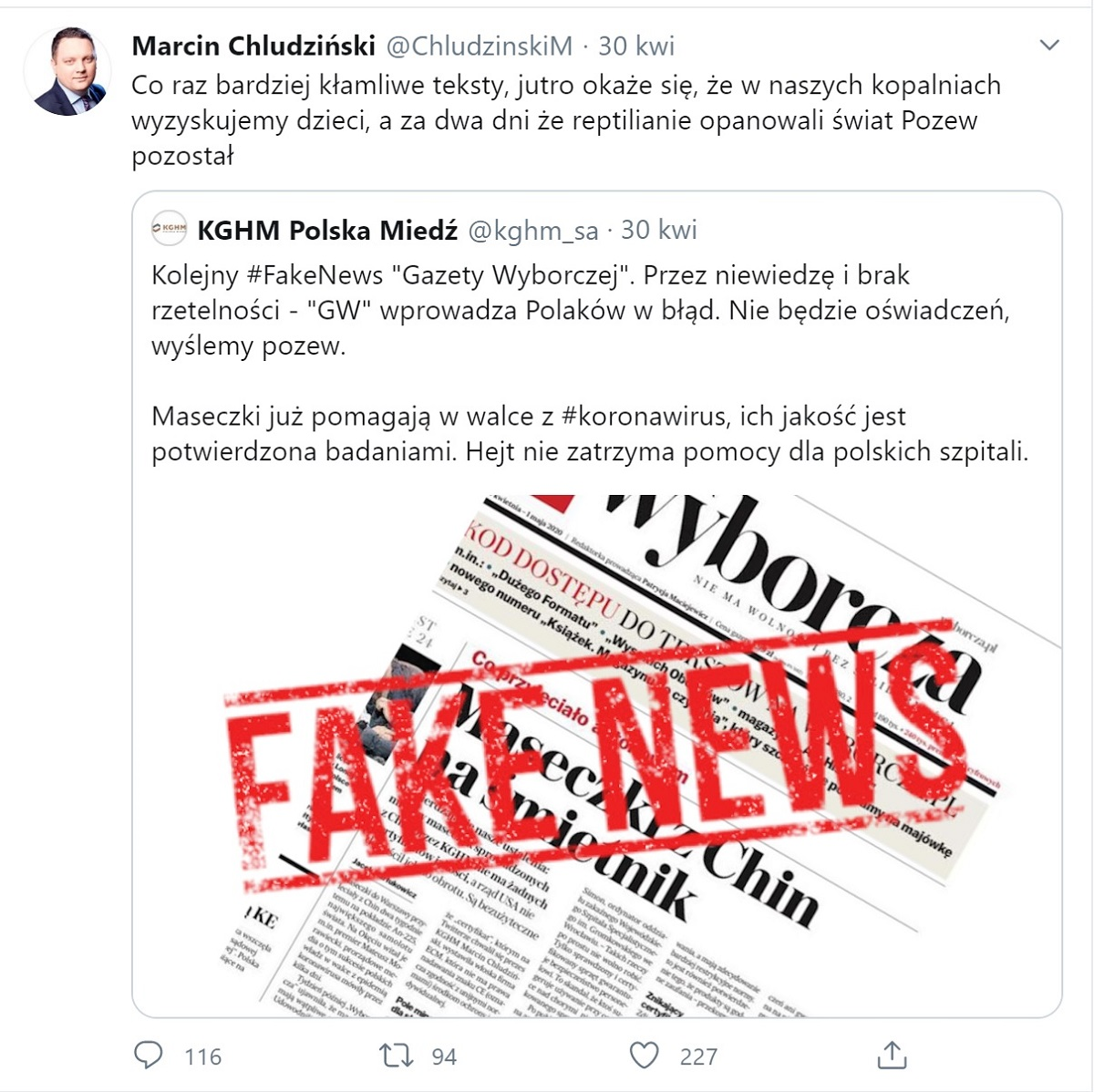 Wpis Marcina Chludzińskiego na Twitterze z 30.04.2020
