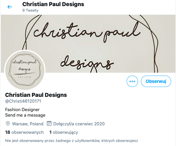 Christian Paul Designs, konto na Twitterze