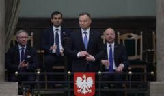 Andrzej Duda na posiedzeniu Sejmu, podczas którego głosowano nad wotum zaufania dla rządu Mateusza Morawieckiego