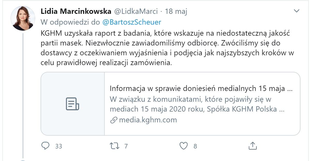 Wpis Lidii Marcinkowskiej na Twitterze z 18 maja 2020