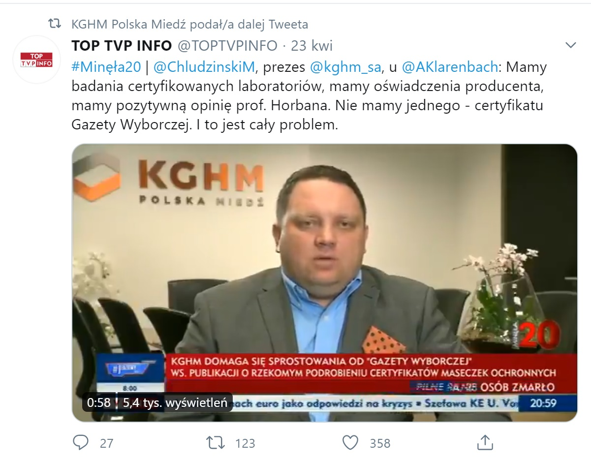 Wpis TVP Info na Twitterze z 23 kwietnia 2020
