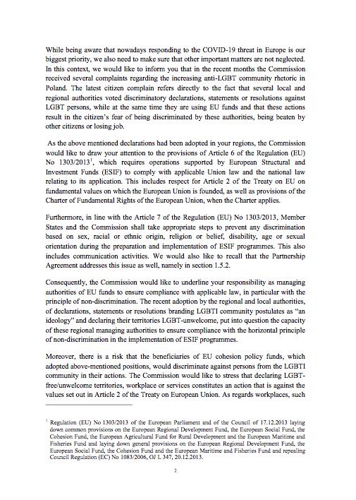 list KE, którego tematem są strefy wolne od LGBT - kolejna strona