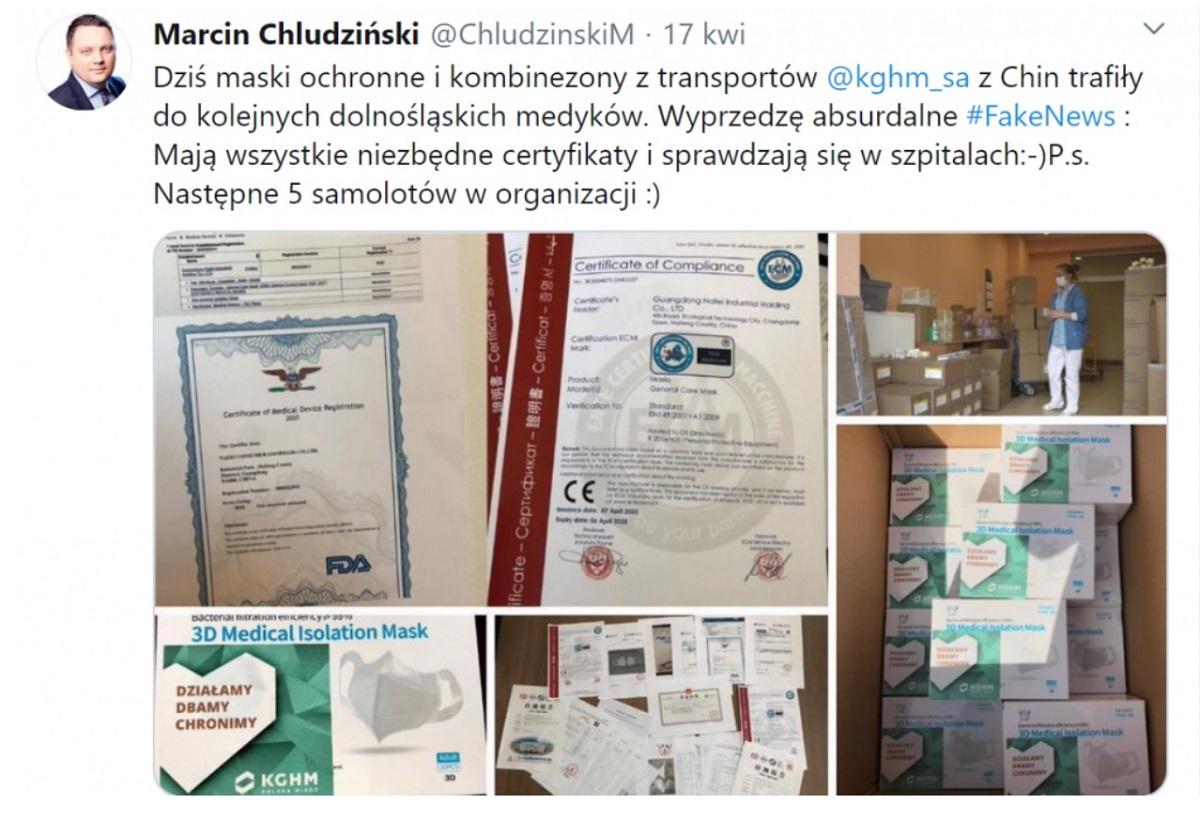 Wpis Marcina Chludzińskiego na Twitterze z 17 kwietnia 2020