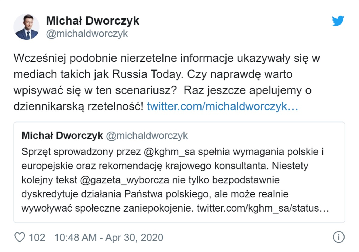 Wpis Michała Dworczyka na Twitterze z 30 kwietnia 2020