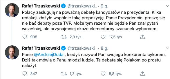 Trzaskowski do Dudy: cykor, źródło: Twitter, 30 czerwca 2020