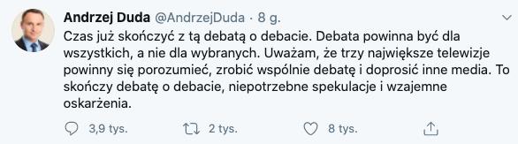 Duda do Trzaskowskiego: zróbmy debatę trzech telewizji, źródło: Twitter, 30 czerwca 2020
