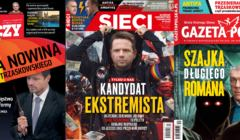 Prawicowa prasa straszy Trzaskowski, okładki pism prawicy