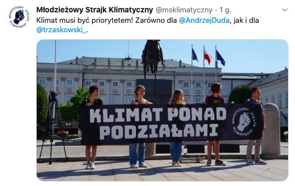 Młodzieżowy Strajk Klimatyczny przed spotkaniem Andrzeja Dudy i Rafała Trzaskowskiego, 30 lipca 2020