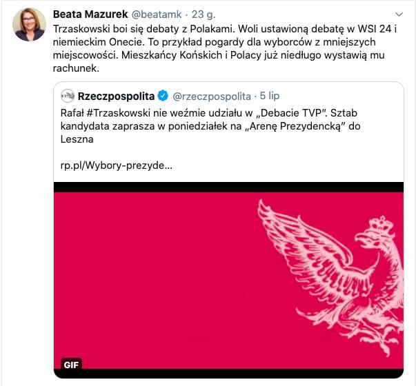 Beata Mazurek o TVN i WSI