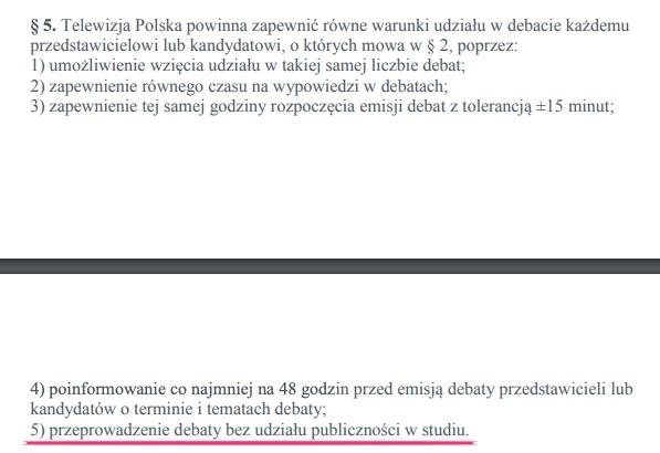 """""""bez udziału publiczności w studiu"""" - rozporządzenie KRRiT o organizacji debat prezydenckich"""