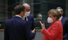 Emmanuel Macron, Charles Michel i Angela Merkel