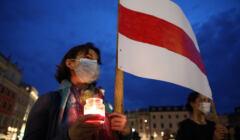 Manifestacja solidarnosci z Bialorusia w Krakowie