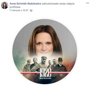 Anna Schmidt-Rodziewicz, zdjęcie profilowe z Facebooka z nakładką o bitwie warszawskiej