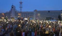 Białoruś, Mińsk wieczorem 21 sierpnia,, plac niepdległości