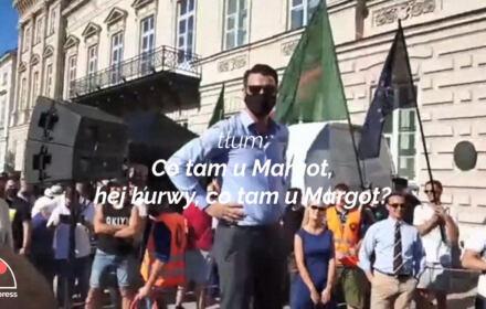 Narodowcy wulgarnie drwią z Margot. Relacja z Krakowskiego Przedmieścia