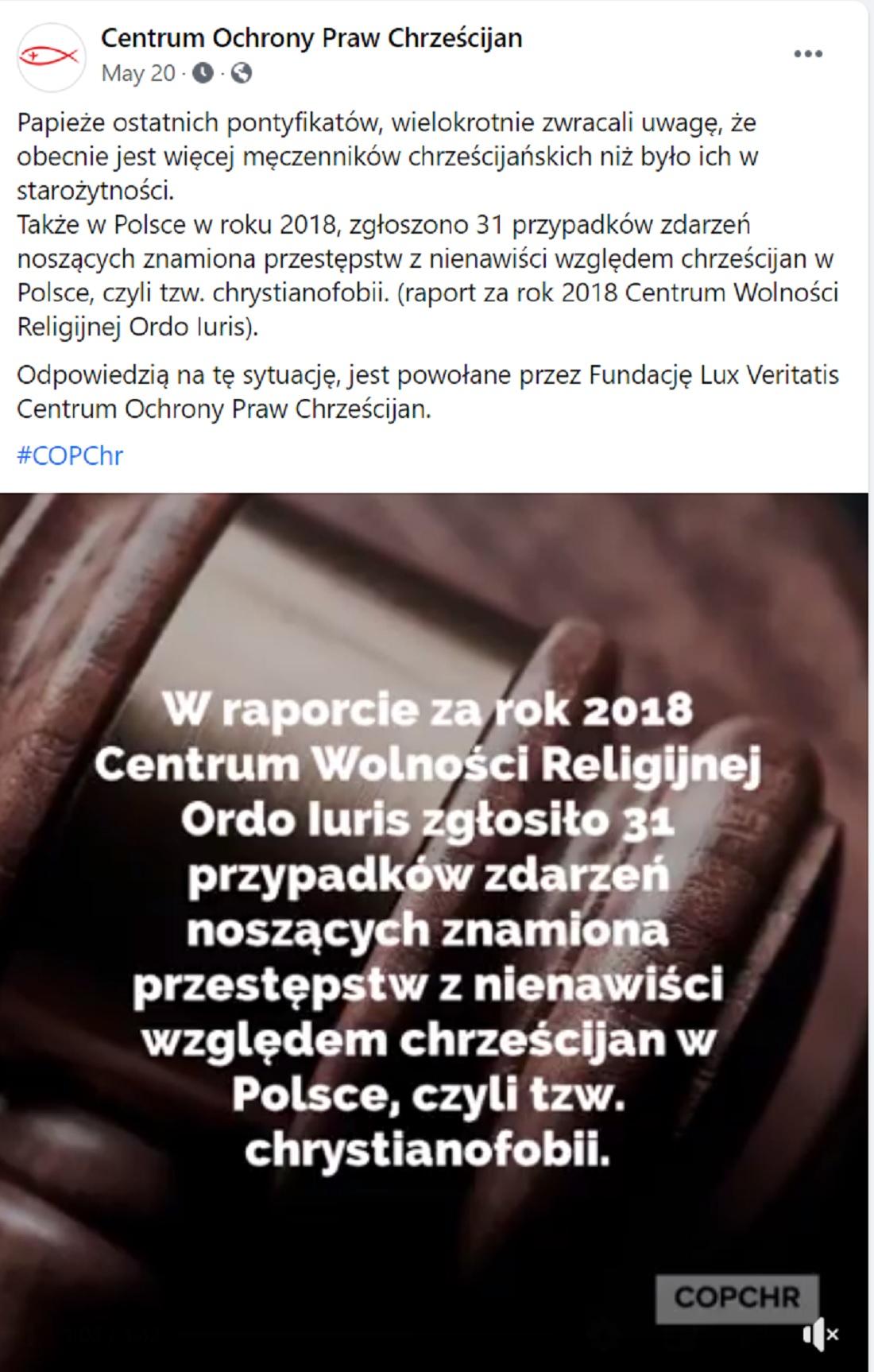 Wpis Centrum Ochrony Praw Chrześcijan na FB