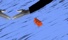 Grecja i uchodźcy – ilustracja przedstawiająca morze i łódkę
