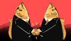 dwie witające się postaci z rybimi głowami