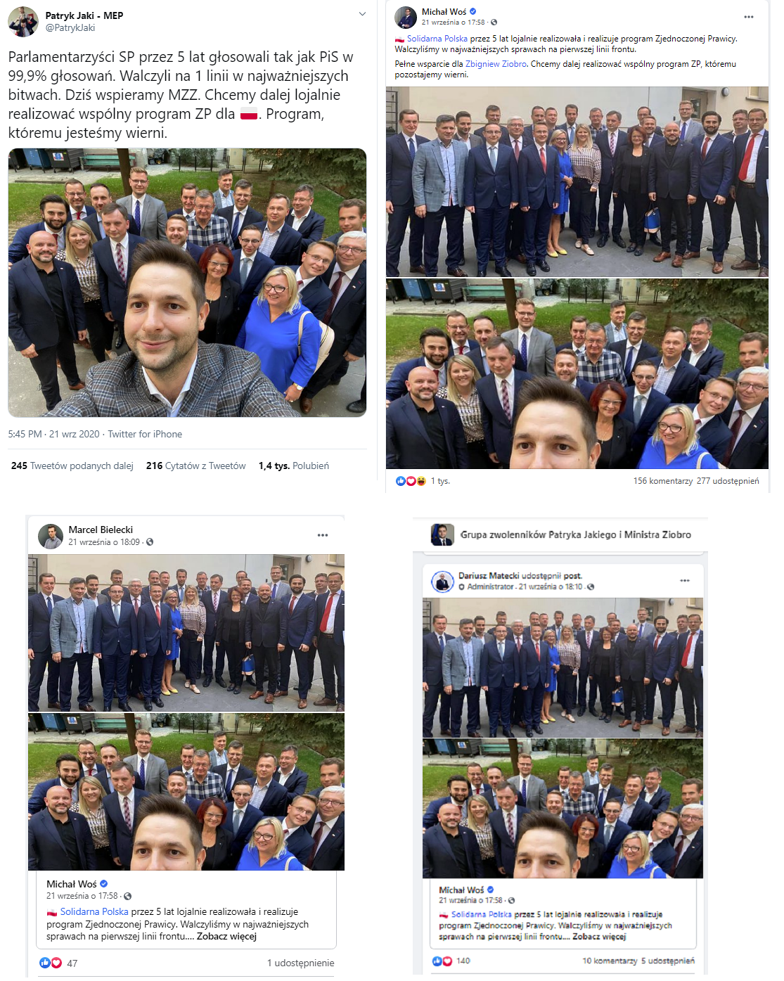 parlamentarzyści udostępniają wpis Ziobry