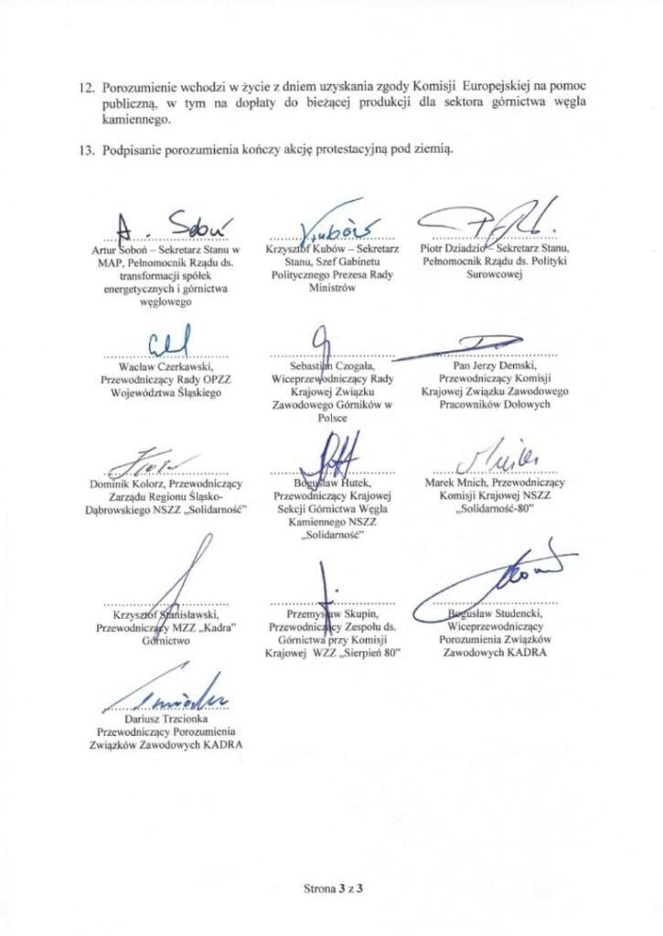 porozumienie rządu z górnikami