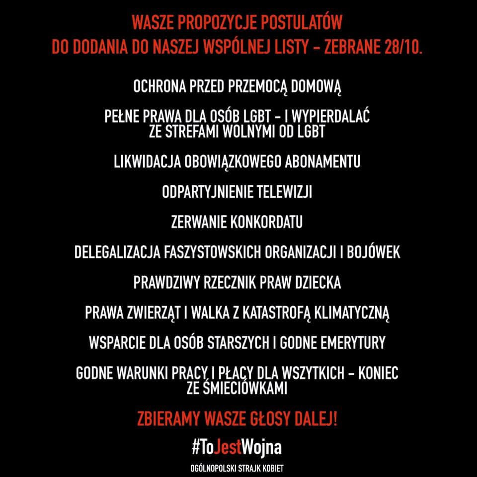 Postulaty Strajku Kobiet, 29 października 2020