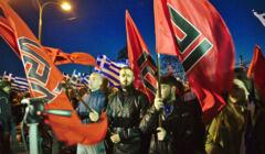 Złoty Świt - członkowie organizacji protestują w Atenach