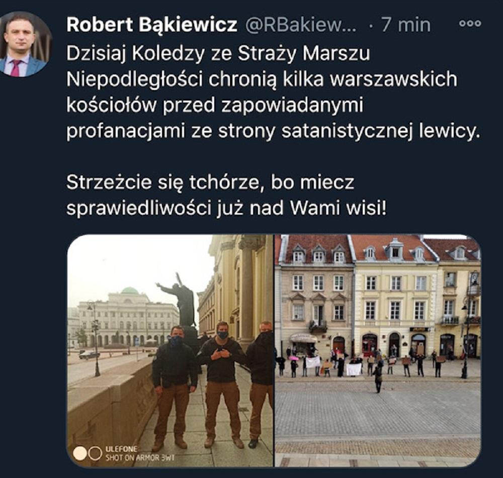 Wpis Roberta Bąkiewicza na Twitterze