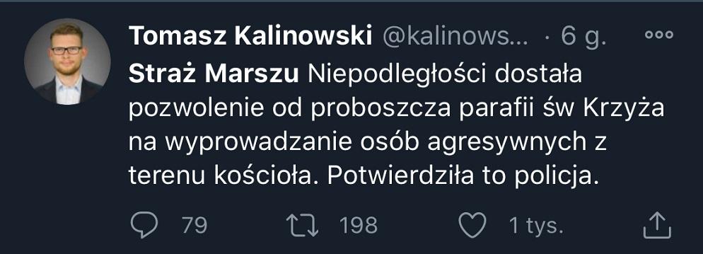 Wpis Tomasza Kalinowskiego na Twitterze