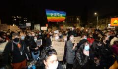 Blokada ulic w Szczecinie w zwiazku z zaostrzeniem prawa aborcyjnego