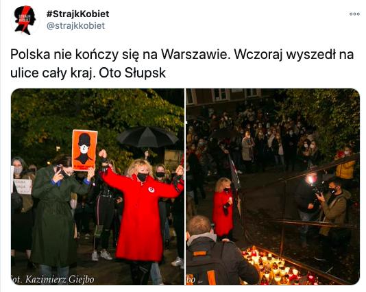 Protest przeciwko decyzji TK w sprawie aborcji, 23 października 2020, źródło: Strajk Kobiet