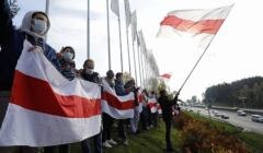 26.10.2020 Strajk pracowników firm w strefie Parku Wysokich Technologii w Mińsku