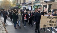 Protestujący w Ostrowcu Świętokrzyskim z transparentami o prawie do aborcji