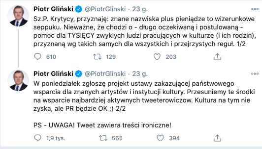 """minister kultury Piotr Gliński broni na Twitterze Funduszu Wsparcia Kultury: """"przyznaję: znane nazwiska plus pieniądze to wizerunkowe seppuku"""", 14 listopada 2020"""