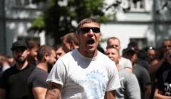 Protest górników z KWK Janina pod siedziba Tauron Wydobycie w Jaworznie