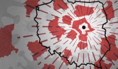 Ilustracja pokazująca kontury województw oddalających się od stolicy