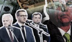 Gowin, Morawiecki i Ziobro, w tle zdjęcie Viktora Orbana