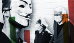 Na grafice zdjęcie młodego człowieka w masce Guya Fawkesa oraz para starszych osób, w tle wykres