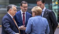 Viktor Orban, Mateusz Morawiecki, Angela Merkel, Mark Rutte