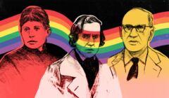 Na grafice Konopnicka, Chopin i Iwaszkiewicz na tęczowym tle