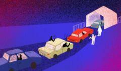 Na ilustracji samochody i zdenerwowani ludzie w kolejce po test na COVID