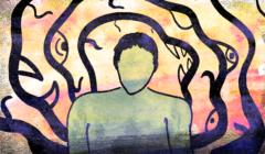 Człowiek w psychozie po zachorowaniu na COVID-19