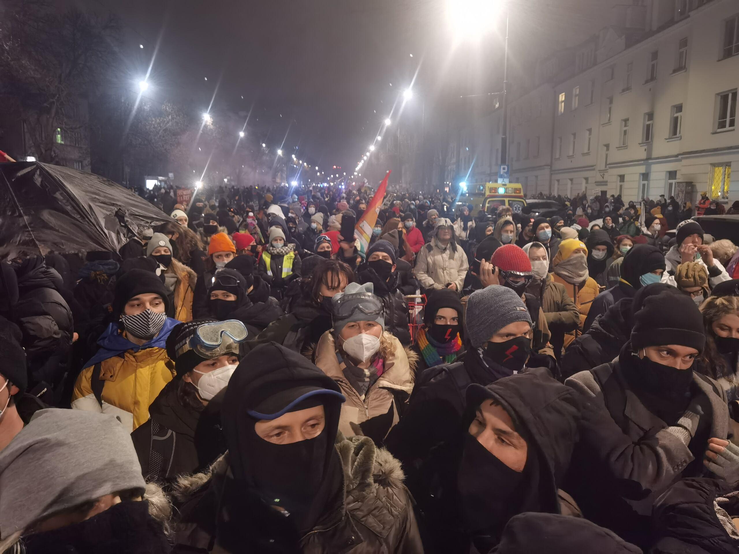 Ulica Mickiewicza Strajk Kobiet 29 stycznia 2021 fot. Robert Jurszo