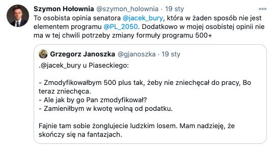 Hołownia kontra Jacek Bury, źródło Twitter