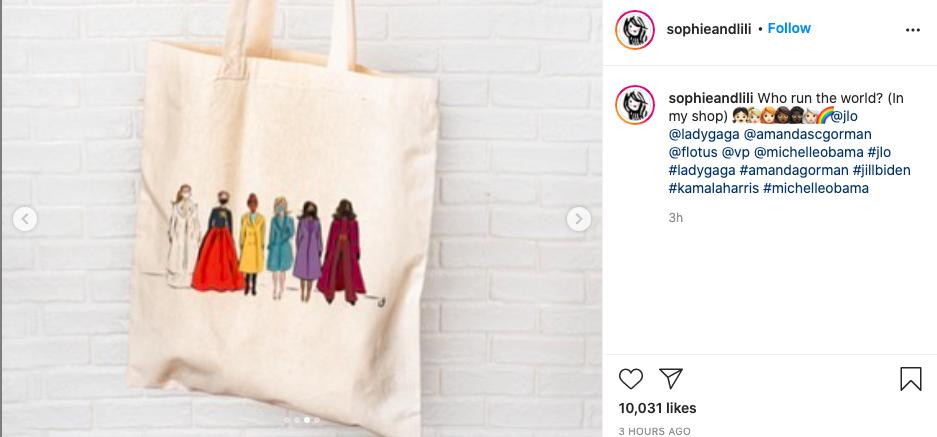 Jennifer Lopez, Lady Gaga, Amanda Gorman, Jill Biden, Kamla Harris, Michelle Obama, źródło: Instagram, sophieandlili
