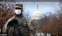 Zołnierz USA w białes maseczce i zielonym maskującym unoformie z karabinem maszynowym w rękach
