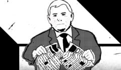 Jarosław Kaczyński drący gazetę