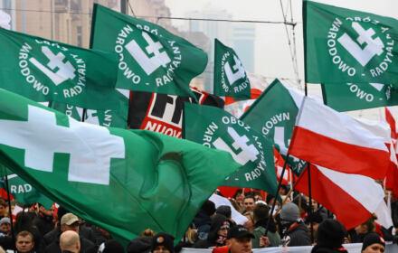 Marsz Dla Ciebie Polsko w Warszawie - na zdjęciu flagi ONR